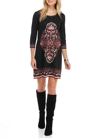 Sophie Max Studio 6B10N56  Negro Floral Vestido Recto sangría estiramiento Ponte -  128  tienda en linea