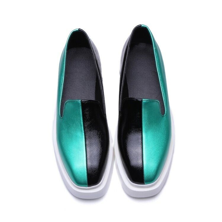 Womens Mix color Slip On Creeper Sports shoes Round Toe Athletic Sneaker hd14