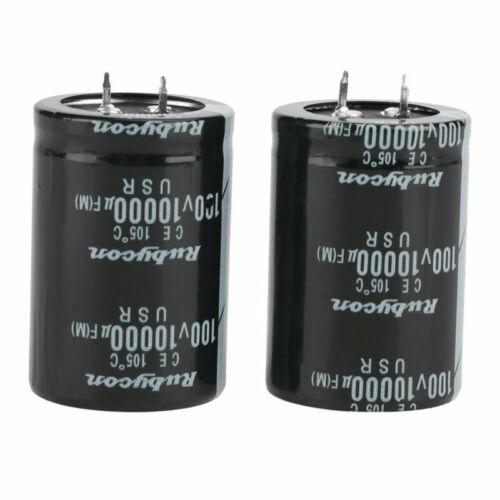 2pcs 10000uF 100V 35x50mm Condensateur Électrolytique à Pression en Noir Mfd