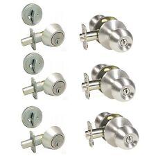 Lot of 3 Satin Nickel Keyed Round Entry Door Knob Lock Combo Set with Deadbolt