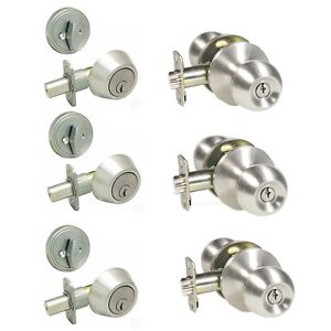 Lot Of 3 Satin Nickel Keyed Round Entry Door Knob Lock