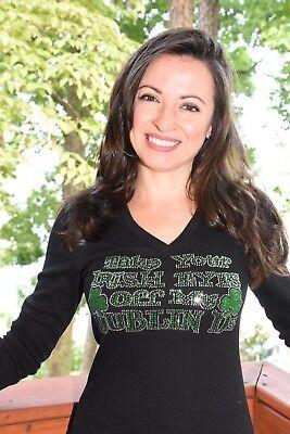 St Patricks Day rhinestone Shirt XS SMLXL XXL1X2X3X4X5X Kiss Me I/'m Irish