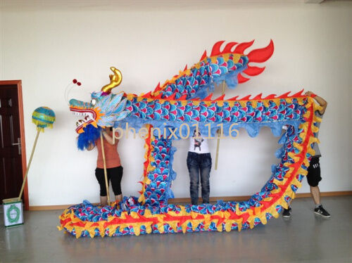 Chinese DRAGON DANCE ORIGINAL Dragon Festival Parade Costume 7m 6 student props
