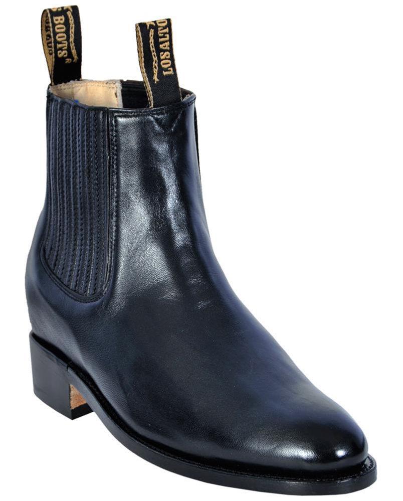 Para Hombre los Altos Negro De Cuero Genuino Ciervo Tobillo botas Charro costuras en D