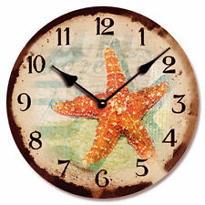 Wall Clock Marine Ocean Sea Life Starfish Coastal Beach Nautical Decor
