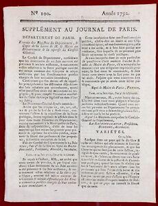 Journal Révolution Française 1792 Journées du 20 Juin Pétion Paris Chénier