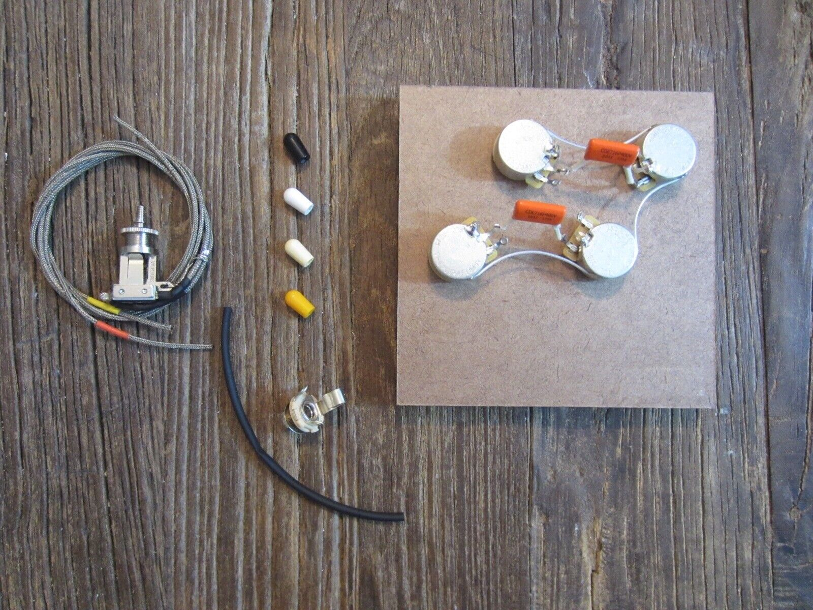 50s Les Paul Wiring Harness & Short Frame Toggle   CTS, Switchcraft, Orange Drop