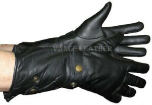 WOMENS-DESIGNER-LEATHER-WINTER-DRIVING-LINED-GAUNTLET-ADJUSTABLE-GLOVES-UVAM