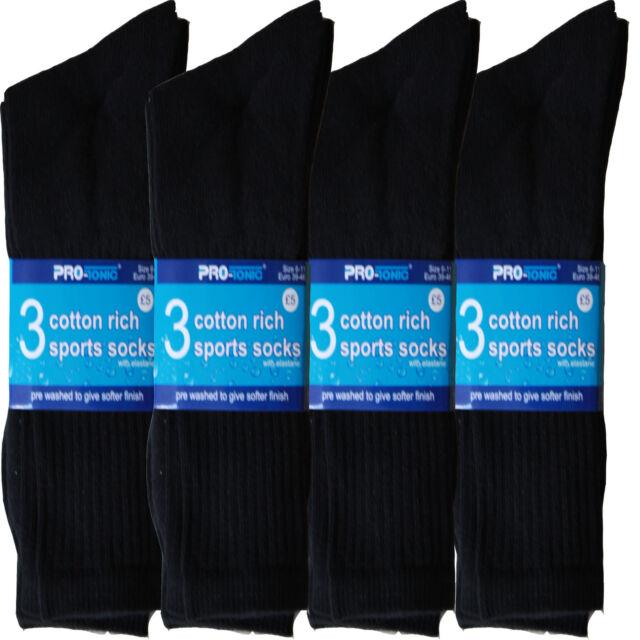 12 pairs mens Cotton Rich Sport Socks work  black white & mix  men  size 6-11