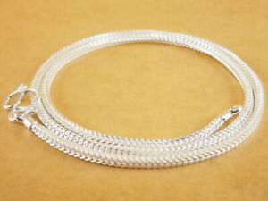 Genuine-925-Sterling-Silver-White-Foxtail-Wheat-Pendant-Necklace-Chain-18-039-039-2-2mm