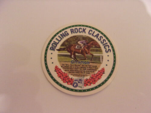NEW CITATION COASTER by ROLLING ROCK BEER CLASSICS Horse Racing TRIPLE CROWN