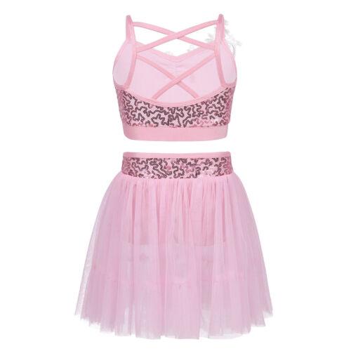 Girls Ballet Latin Dance Dress Sequins Leotard Lyrical Skirt Dancewear Costume