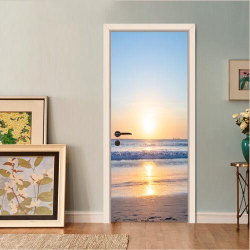 3D Sunrise Ocean Landscape Self-Adhesive Bedroom Door Sticker Wall Murals Poster