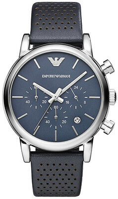 USED EMPORIO ARMANI AR1736 MENS NAVY LEATHER CHRONOGRAPH WATCH - 1 WEEK OLD