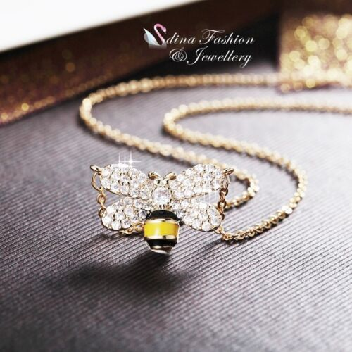 18K Yellow Gold Filled Simulated Diamond Cute Shiny Honey Bee Statement Necklace