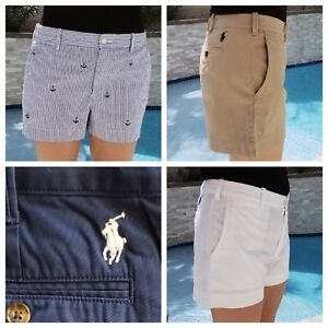 6652bf0506 Polo RALPH LAUREN Womens Shorts chinos 6 8 10 12 14 tan blue white ...