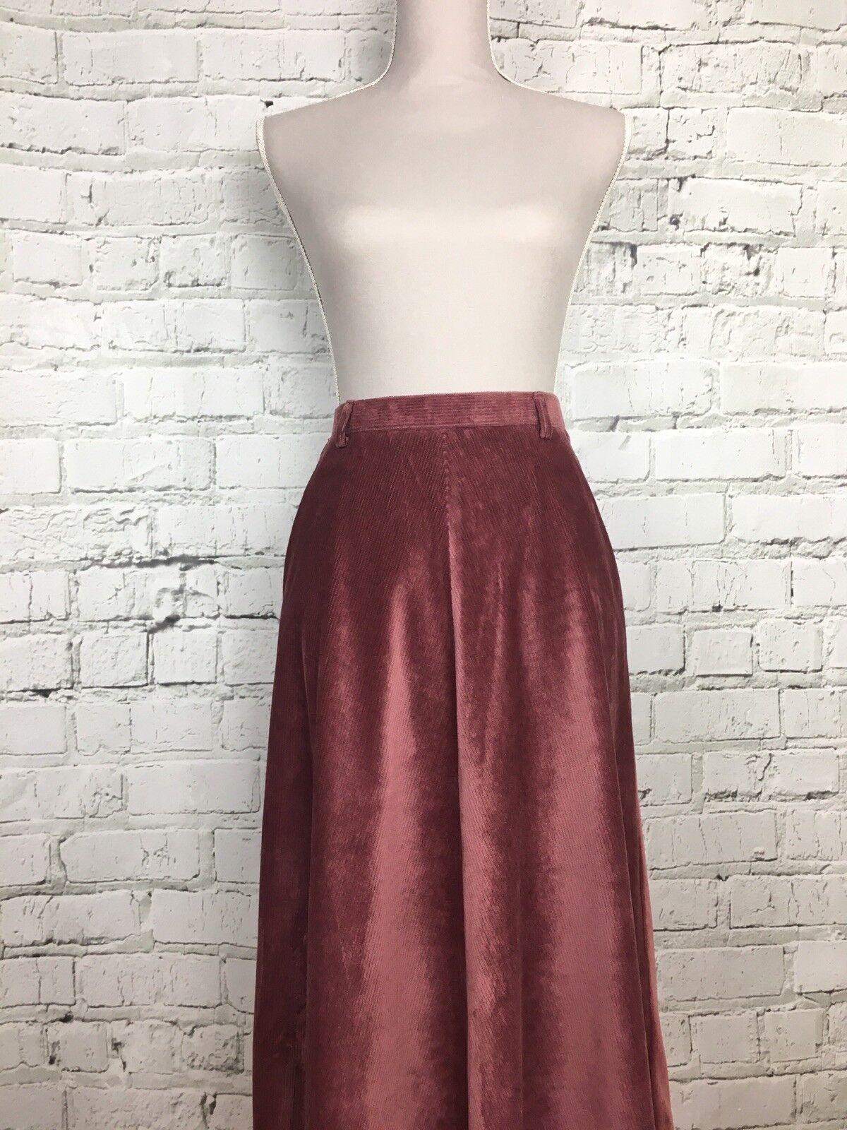 Womens LAPIDUS Pink CorduroyVintage Shimmer Effect Slight Flared Skirt Size 30W