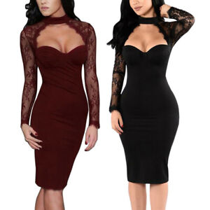 Ladies-Women-039-s-Sexy-Bodycon-Dress-Club-Party-Lace-Sleeve-Hollow-Out-Dresses