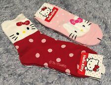 2x Hello Kitty Socks Cute Crew Girl Pink Size 22-26 cm Soft Made in Korea Women