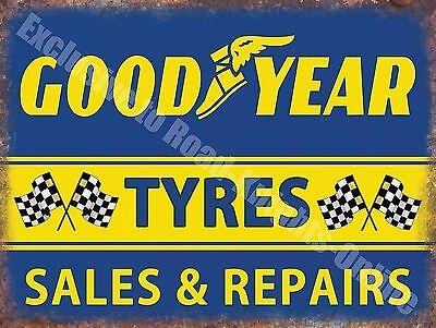 Vintage Garage, 68 Goodyear Tyres Racing, Car Motorcycle, Large Metal/Tin Sign