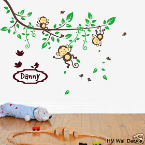 Details about PERSONALISED NAME & Cot side Branch & Monkeys, birds kids /  nursery wall sticker