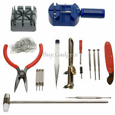 124PCS WATCHMAKER WATCH REPAIR TOOL KIT BACK CASE OPENER REMOVER SPRING PIN BAR