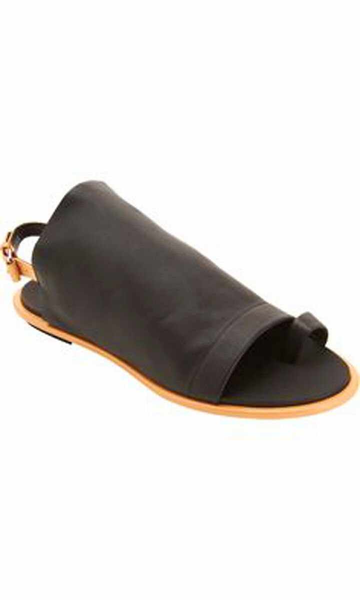 44ff3bdd1 NEW BALENCIAGA nero Calfskin Leather Toe Toe Toe Ring Glove Slingback Flat  Sandals 37 7 f64a6f