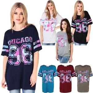 a1bd5ccdcec2 Image is loading Womens-Girls-Oversize-American-Varsity-Long-Baseball-Jersey -