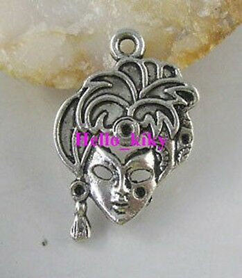 60 Pcs Tibetan silver crafted lady mask charms A1943