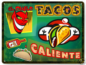 TACO-metal-SIGN-Mexican-hot-sauce-collectible-great-gift-VINTAGE-style-decor-182