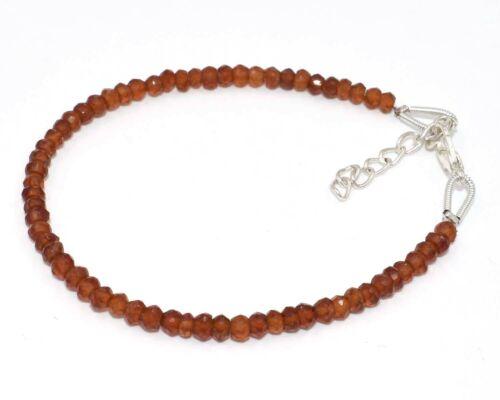 "Wow naturel essonite Gemstone 3-4 mm Washer à Facettes Perles Bracelet 7/"""