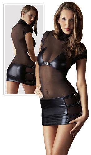 "Minikleid Wetlook transparent Abendkleid Kleid sexy Partykleid S M L 48 XL ""Nena"