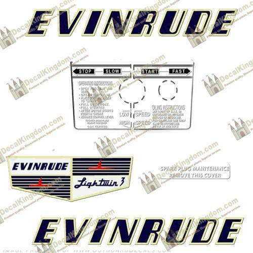 Evinrude 1955 3hp Outboard Decal Kit 3M Marine Grade