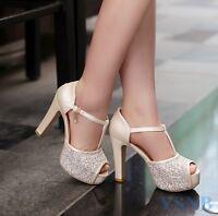 Sexy Ladies Glitter Sequin Peep Toe Platform Block High Heels Party Wedding Shoe