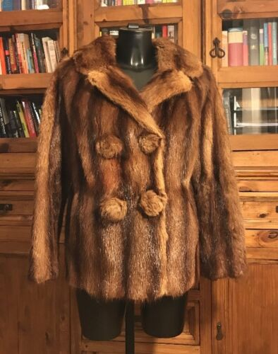 Real Stunning Short Ladies Vintage Coat Brown Length jacket Genuine Fur 5x4nzZTq