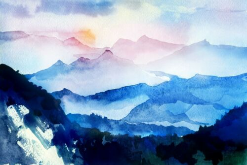 A1Watercolour Mountains Poster Art Print 60 x 90cm 180gsm Painting Gift #8738