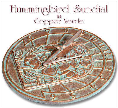 Whitehall Hummingbird Sundial Copper Verdi  - Great Gift for Garden or Home