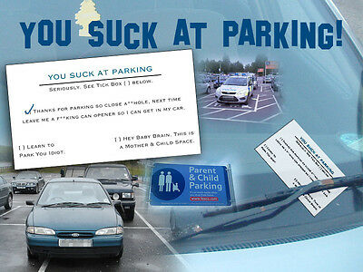 Joke BAD PARKING Message Cards x10 Put on Windcreen Poor Parking-F✶CKING Idiot