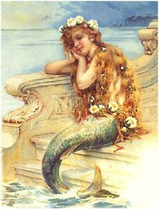 VICTORIAN LITTLE MERMAID FAIRY FANTASY CANVAS ART PRINT