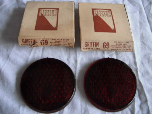 PAIR NOS GRIFFIN NO 69 GLASS TAIL LIGHT LENS LENSES 1934-6 PLYMOUTH 1935 DODGE
