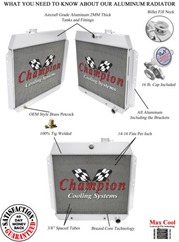 1949-1954 Chevrolet Car-West-Champion 2 Row Aluminum Radiator for L6 Engine