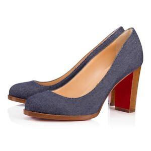 c5f35878d992 NIB Christian Louboutin London Buche 85 Denim Blue Brown Block Heel ...