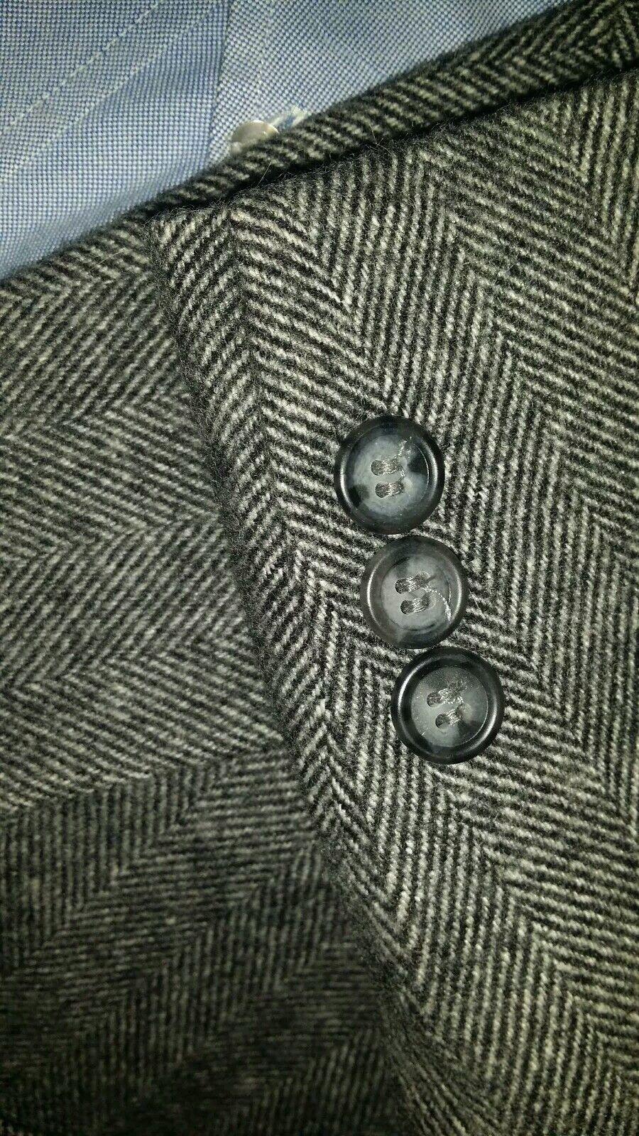 46L Hellbraun Schwarz Plüsch Wolle Kamel Haare Tweed Fischgräten Jacke Blazer