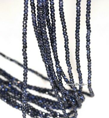 """2MM DISCO BLUE SANDSTONE GEMSTONE BLUE FACETED ROUND 2MM LOOSE BEADS 16"""""""
