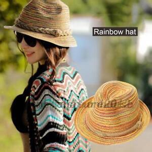 Adult-Child-Boho-Women-Wide-Brim-Straw-Hat-Floppy-Derby-Beach-Sun-Travel-Cap
