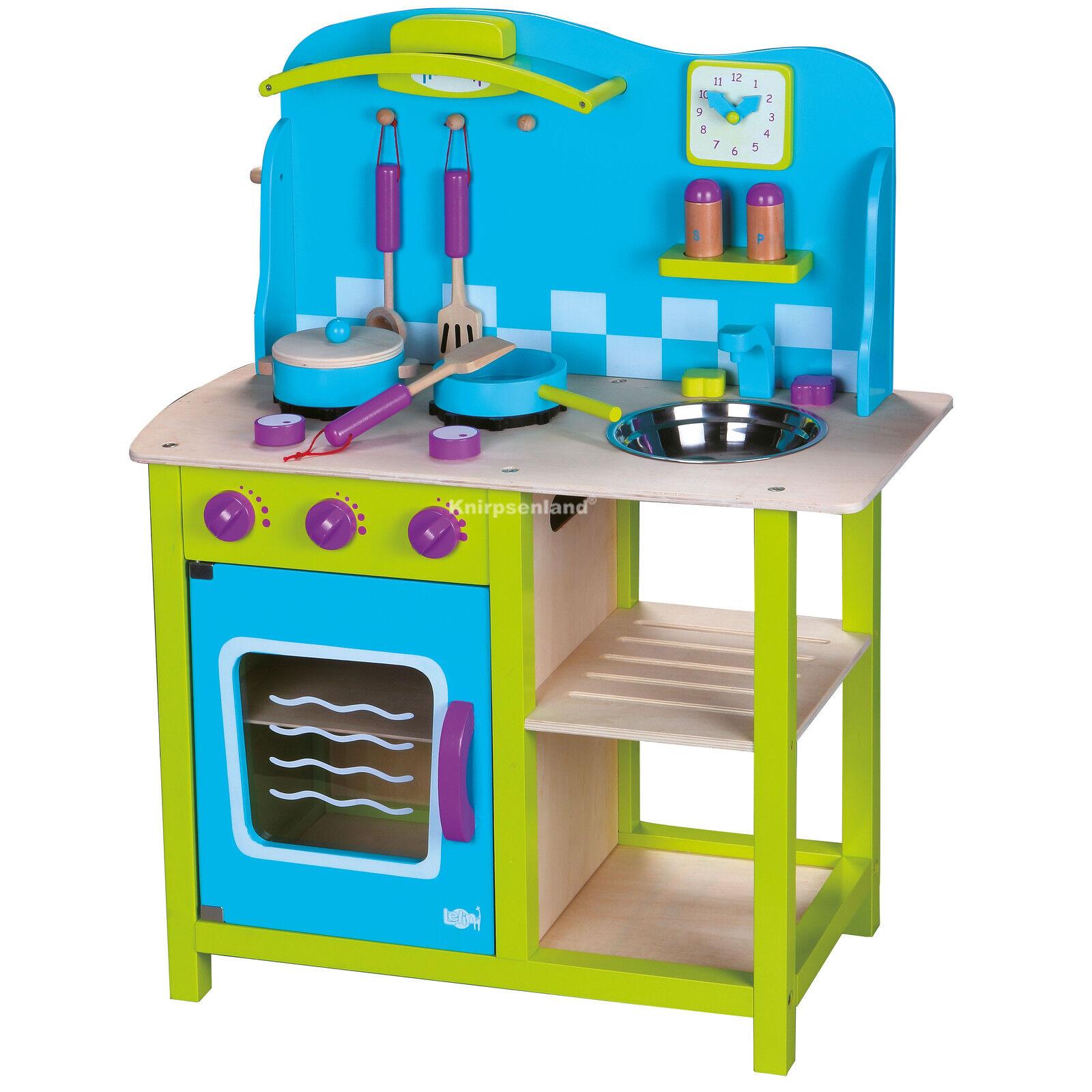 Spielküche Kinderküche Kinder Holz Küche Holzküche Spielzeugküche + Zubehör Blau