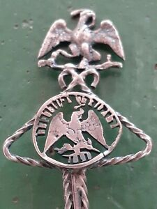 Mexico-Eagle-Authentic-Silver-Reales-Coin-Spoon-Spanish-Antique-Hand-Made