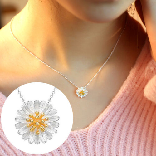 Lovely Silver /& Gold Daisy Flower Pendant Necklace Women/'s Fashion Jewelry