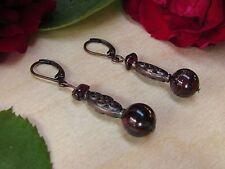Red Brecciated Jasper & Garnet Chip Antiqued Copper Plate Leverback Earrings