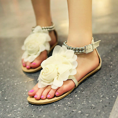 New Women's Girls Shoes Summer Sandals Big Flower US4-11 Ankle Buckle Flip Flops